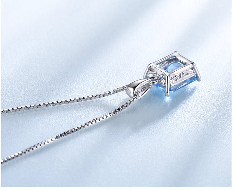 Rectangular Aquamarine Sky Blue Cubic Zirconia Pendant Necklace, Sterling Silver