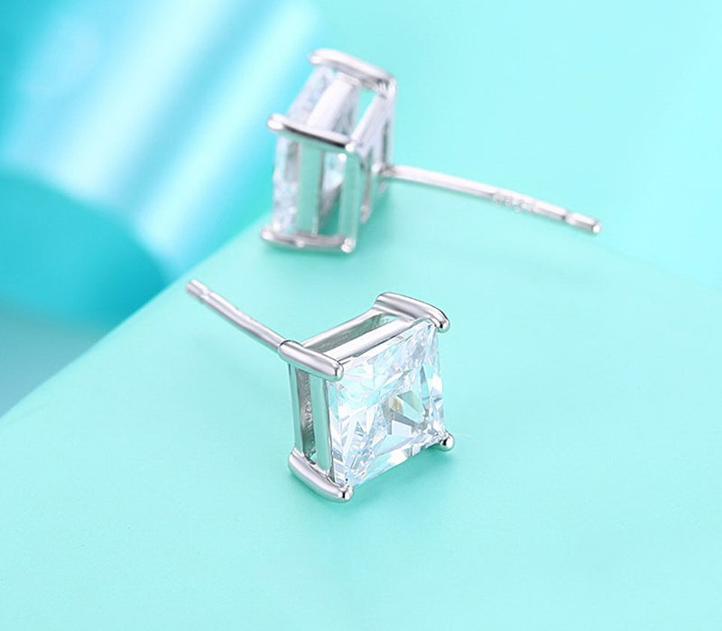 Square White Cubic Zirconia Sterling Silver Stud Earrings