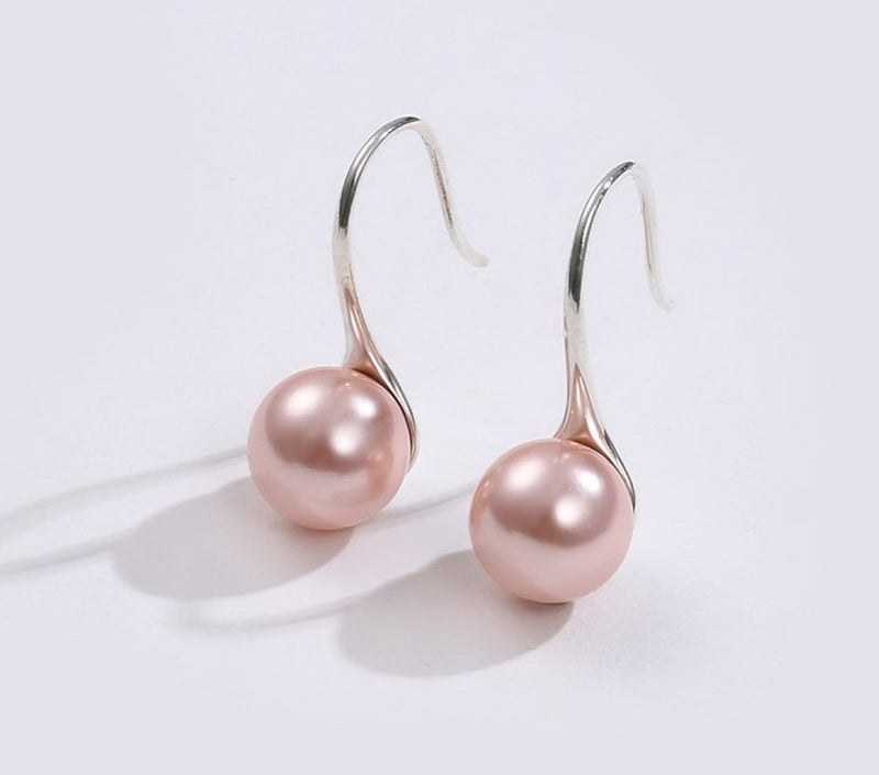 Pink Pearl Sterling Silver Drop Earrings