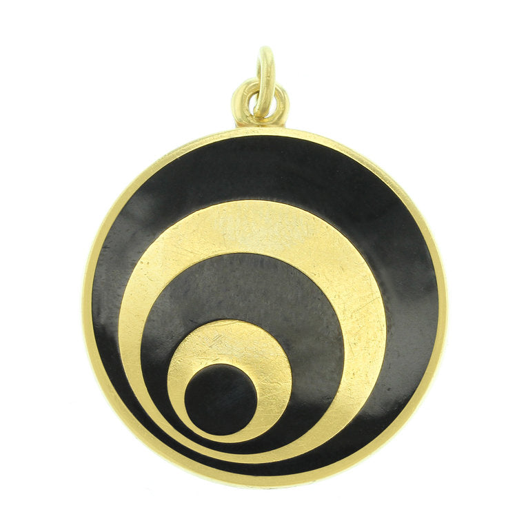 Black and 18K Yellow Gold Roma Pendant