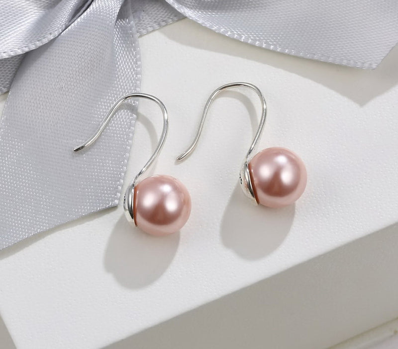 Peach Pearl Sterling Silver Drop Earrings