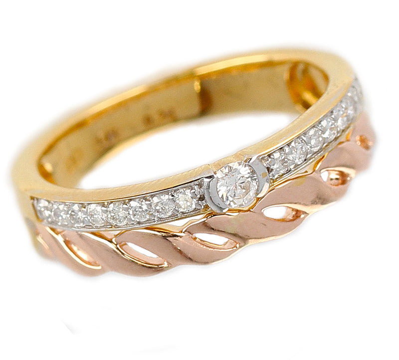 Duo Stack Ring with Fusion Yellow and Rope Rose Gold with Diamonds, 14K