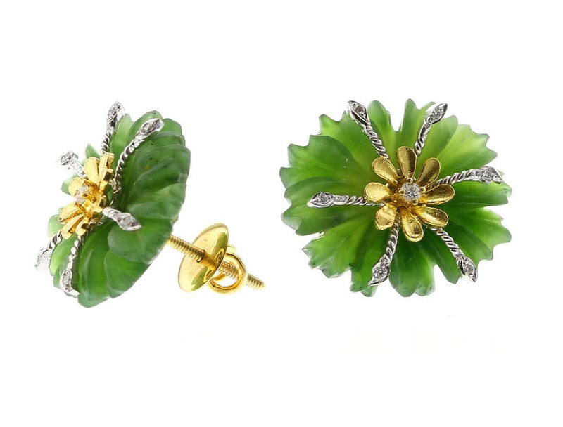 Carved Floral Jade Earrings with Diamonds