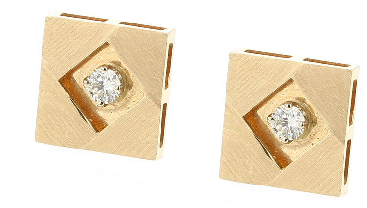 Square Gold and Diamond Cufflinks, 14K Yellow Gold