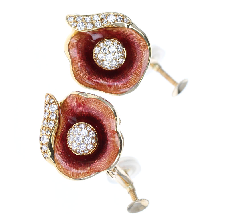 Fabergé Floral Enamel and Diamond Earrings, 18 Karat Yellow Gold