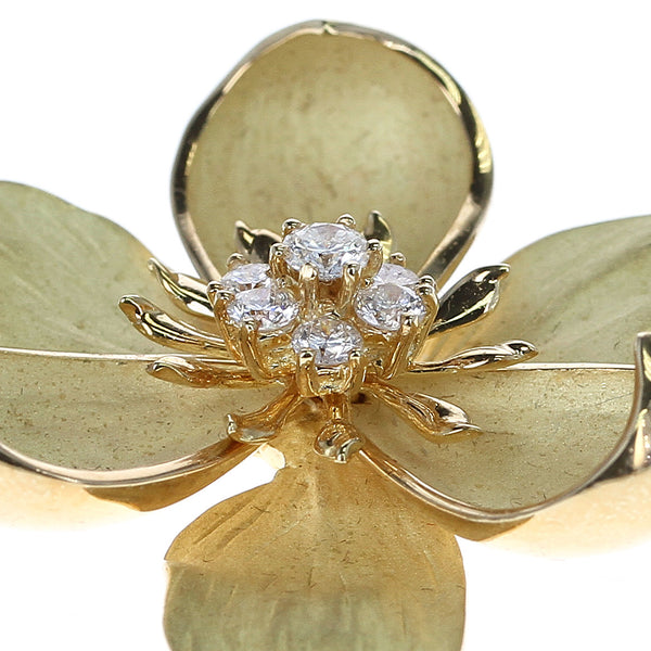 Tiffany & Co. Floral Diamond Brooch, 18 Karat Yellow Gold
