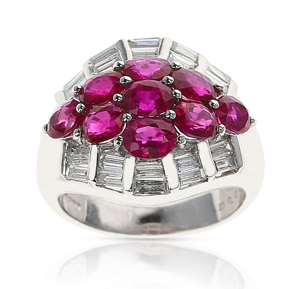 Nine Oval Ruby and Diamond Baguette Estate Cluster Ring, Platinum
