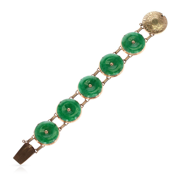 GIA Certified Natural, No Heat Jade Bracelet, 14 Karat Rose Gold