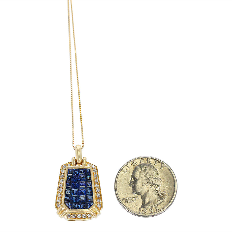 Elongated Hexagonal Mystery Set Sapphire and Diamond Pendant Necklace, 18K Yellow Gold