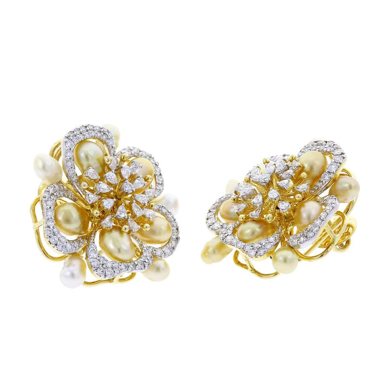 Fine Floral Pearl and Diamond Earrings, 18K Yellow Gold