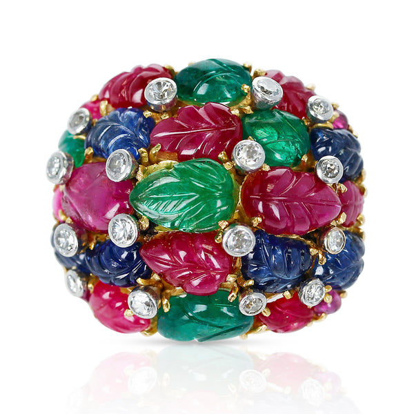 French Tutti Frutti Ruby, Emerald, Sapphire Carvings with Diamonds Cluster Cocktail Ring