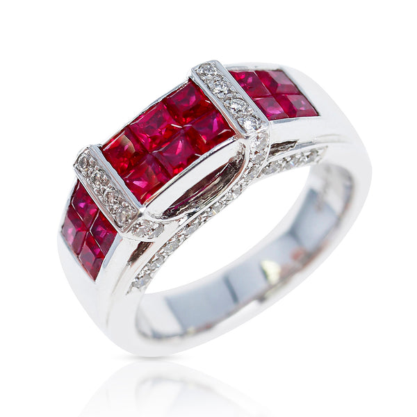 Invisible Set Square Ruby Ring with Diamonds, 18K White Gold