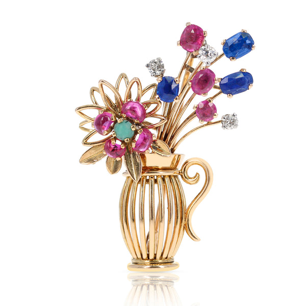 Mixed Cut Ruby, Sapphire, Diamond and Turquoise Flower Pot Brooch, Yellow Gold