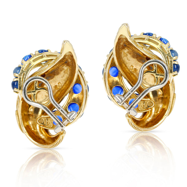 Van Cleef & Arpels Blue Sapphire Cabochon 18K Textured Gold Earrings