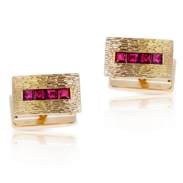 Tiffany & Co. Ruby Cufflinks, 14K Yellow Gold