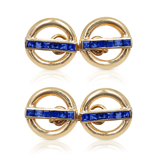 Invisibly-Set Blue Sapphire Shirt Pins, 14 Karat Yellow Gold