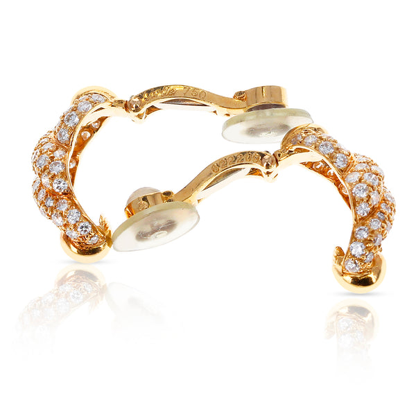 Cartier Twisted Rope Diamond Swirl Earrings, 18 Karat Yellow Gold