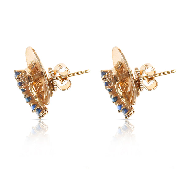 Retro Tiffany & Co. Spinning Blue Sapphire Earrings, 14 Karat Yellow Gold