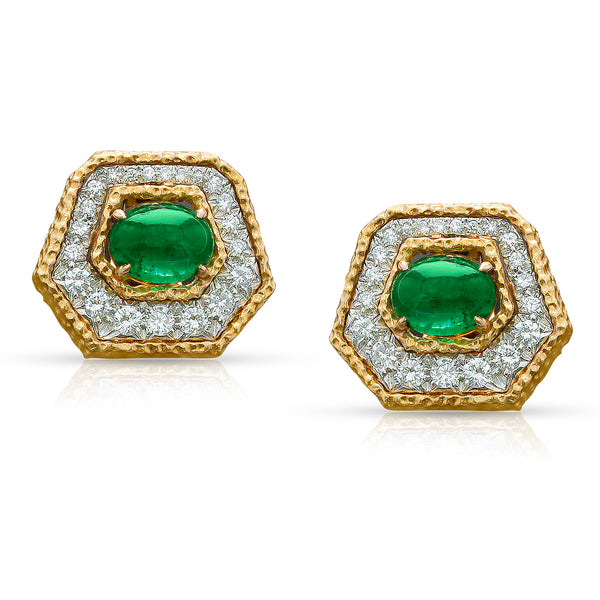 Van Cleef & Arpels Emerald Cabochon and Diamond Textured 18K Gold Earrings
