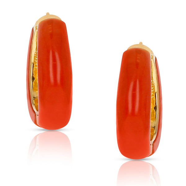Van Cleef & Arpels Coral Hoop Earrings 18 Karat Yellow Gold