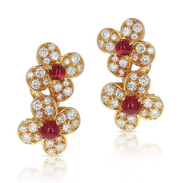 1980s Van Cleef & Arpels Ruby and Diamond Double Alhambra Earrings