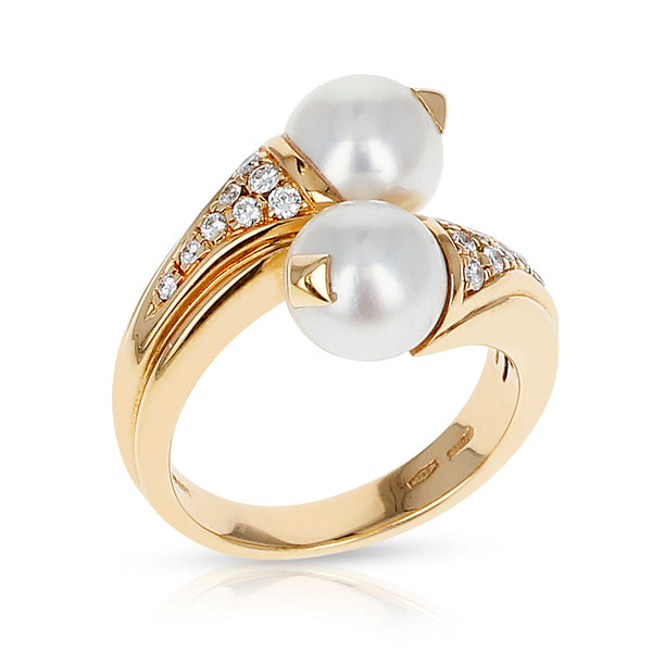 Bvlgari Double Pearl, Diamonds, and 18 Karat Yellow Gold Ring with Original Box