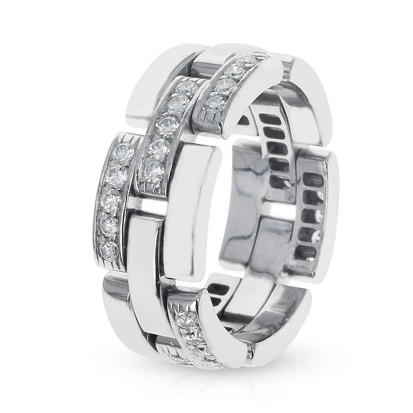 Cartier Panthere White Diamond Link & Chain-Style Wedding Band, 18K White Gold