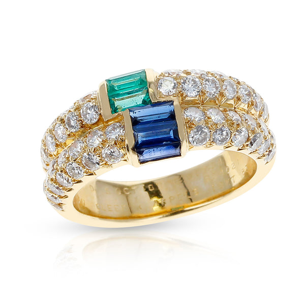 Paris Van Cleef & Arpels Emerald and Sapphire Baguettes with Round Diamonds Ring