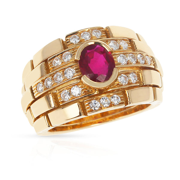 Cartier Maillon Panthere Design Oval Ruby and Diamonds Ring, 18 Karat Yellow