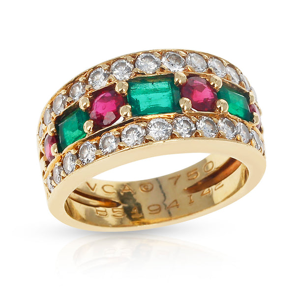 Paris, France Van Cleef & Arpels Emerald and Round Ruby and Diamond Band Ring 18K Yellow