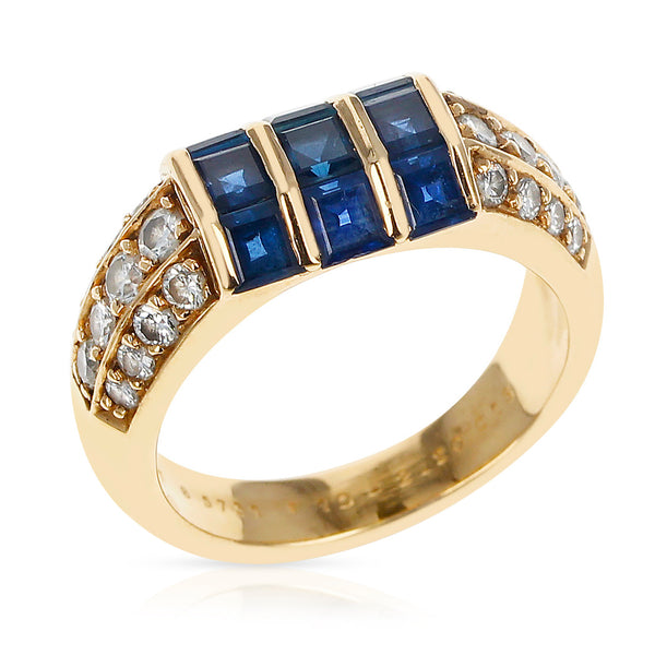 Van Cleef & Arpels Invisibly-Set Nine Sapphire and Diamonds Ring, 18K Yellow