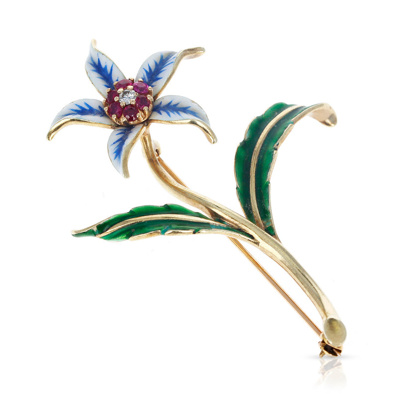 Cartier Floral Pin/Brooch Rubies, Diamonds and Enamel, 18 Karat Yellow Gold