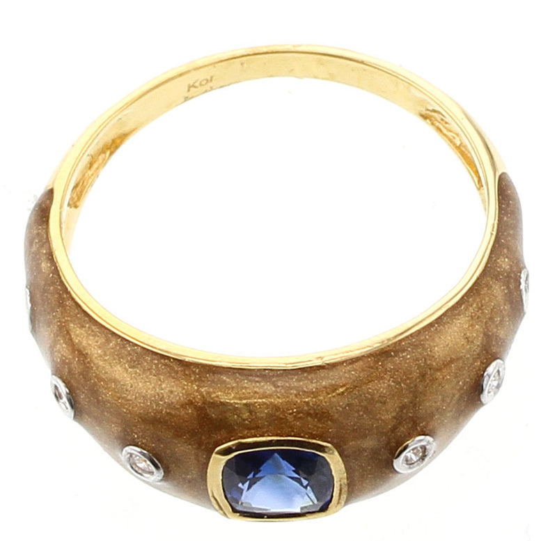 Brown Enamel Ring with Blue Sapphire and Diamonds, 18K Yellow Gold
