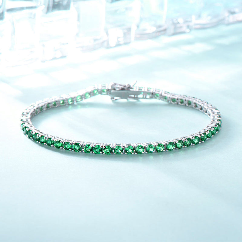 Round Emerald Green Colored Cubic Zirconia Sterling Silver Bracelet
