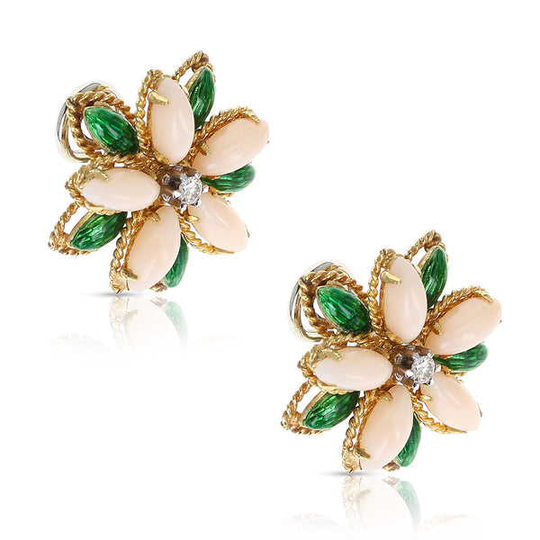 Coral, Green Enamel, and Diamond Floral Earrings, 18 Karat Yellow Gold