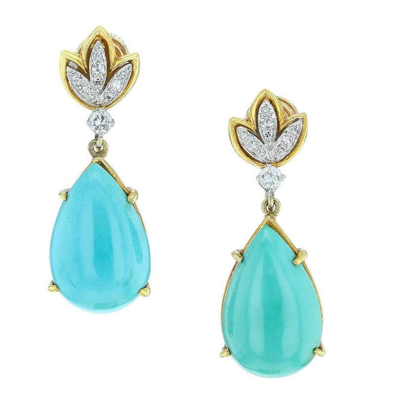 Tiffany & Co. Pear-Shape Turquoise and Diamond Earrings