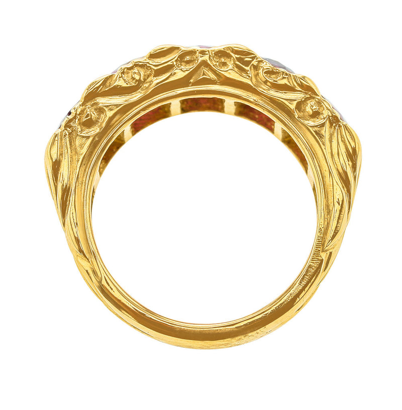 Five Stone Ruby Band, 18K Yellow Gold