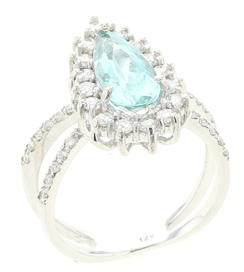 Greenish Blue Pear Tourmaline Ring with Diamonds, White Gold
