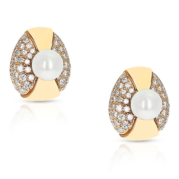 Cartier 8MM Pearl and Diamond Oval-Shape Earrings, 18 Karat Yellow Gold
