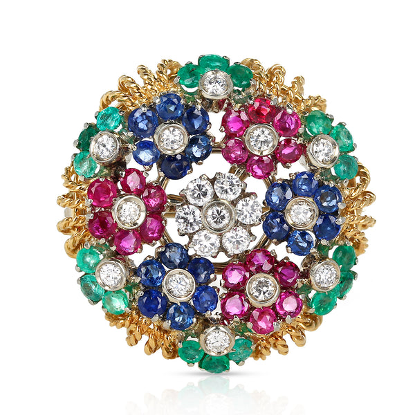 Ruby, Sapphire, Emerald and Diamond Circular Floral Design Brooch, 14k Gold