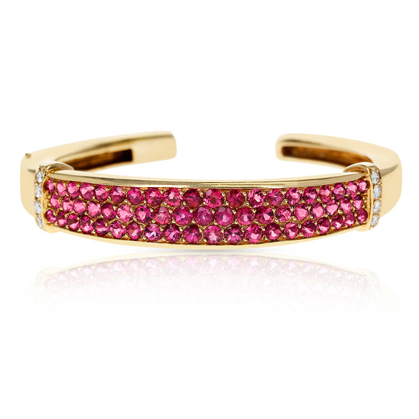 Van Cleef & Arpels Round Rubies Bangle Cuff with Diamonds, 18 Karat Gold