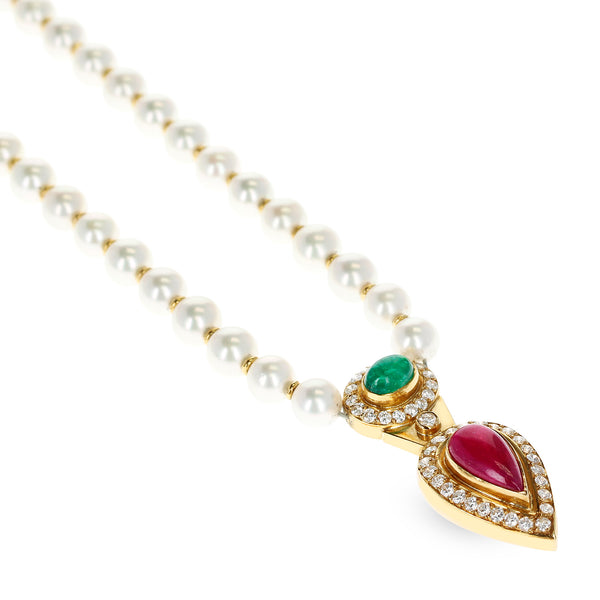 Cultured Pearl Necklace with an Emerald and Ruby Cabochon, and Diamonds