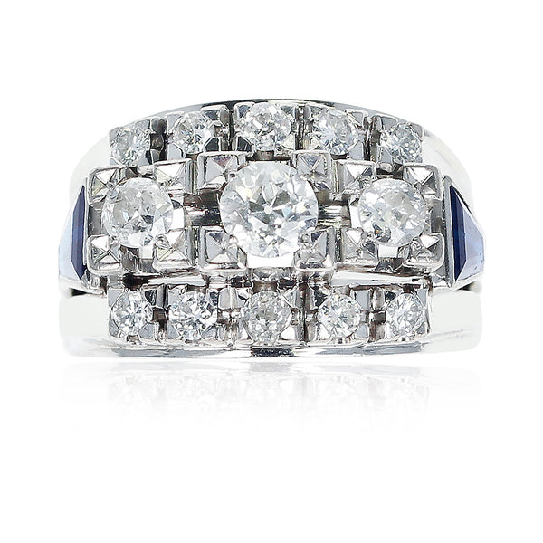1950s Thirteen Round Diamond accented with Two Sapphire Trapezoids, 18K Gold