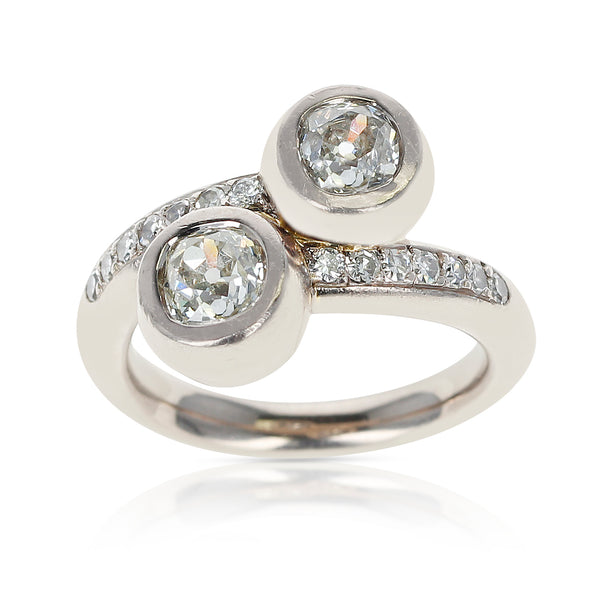 0.85 carat each Two Round Diamonds Toi et Moi Engagement Ring