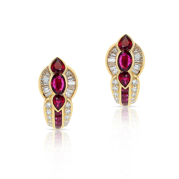 Pear, Oval and Square Ruby with Round and Baguette Diamond Earrings, 18K Gold
