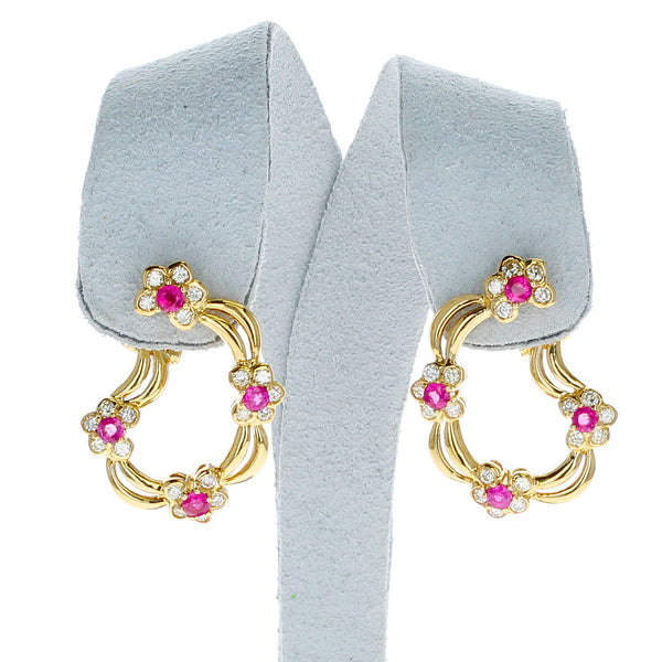 Four Flower Ruby and Diamond Floral Clip-on Earrings, 18 Karat Yellow Gold