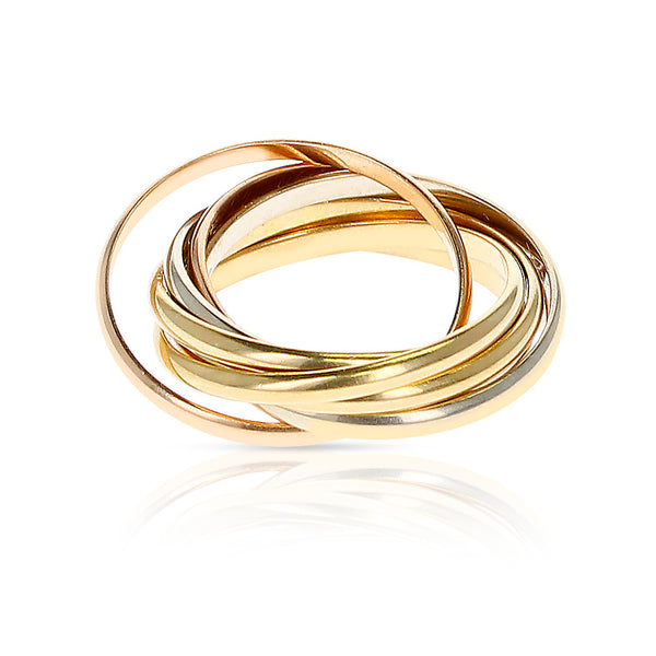 Cartier 7 Band Rolling Ring, 18 Karat Rose, White and Yellow Gold