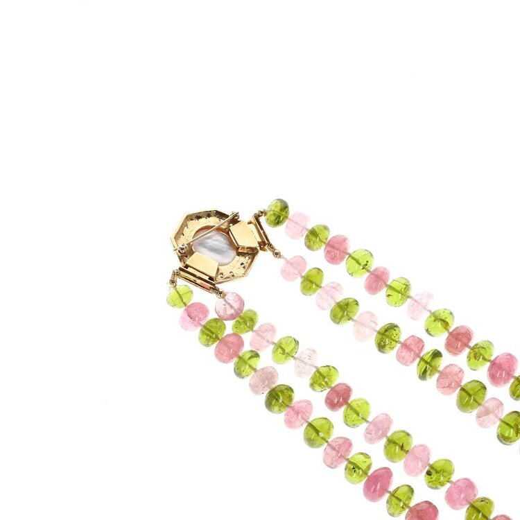 Peridot and Morganite Bead Yellow Gold and Diamond Brooch and Necklace