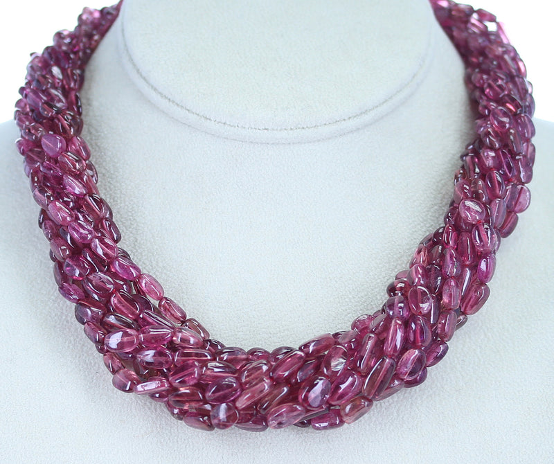820 Carat Genuine & Natural Plain & Smooth Tourmaline Tumbled Beads Choker Necklace