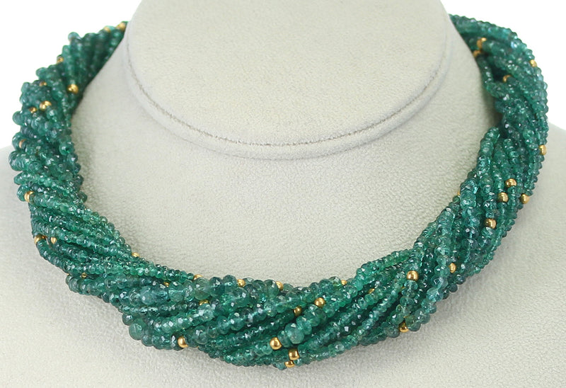 Genuine & Natural Emerald Faceted with Gold Beads Choker Necklace